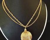 Vintage Necklace Ball Pendant Designer Signed Park Lane Gold Tone Chain Retro 1960 Costume Jewlery