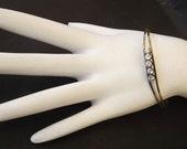 Vintage Bracelet Cuff  - Crystal Diamond Rhinestones - Costume Jewelry -  Fashion Jewelry