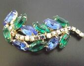 Vintage Brooch Blue Green Rhinestones AB Fruit Salad Rhinestones Costume Jewelry - Retro 1950