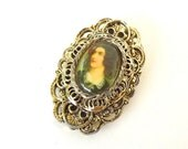 Vintage  Brooch Cameo Portrait Victorian Style Signed Gerri Costume Jewelry