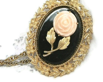Vintage Cameo Necklace with Pink Porcelain Rose and Mirror Retro 1970s Victorian Style