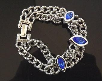 Vintage Bracelet Blue Rhinestones Swarovski Savvy Signed Swan Bridal Accessories Costume Jewelry