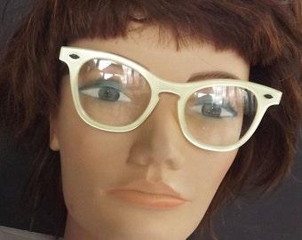 Vintage Eyeglasses and Glasses Frame Lucite Signed Liberty Retro 1960 Marble Pearl Eye Wear Eyewear