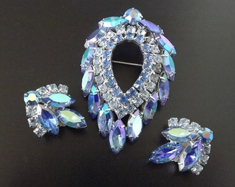 Vintage Brooch Earring Jewelry Set Signed Sarah Coventry by Juliana Costume Jewlery