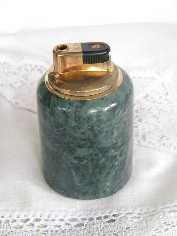 Vintage Cigarette Lighter Green Marble Table Lighter Signed