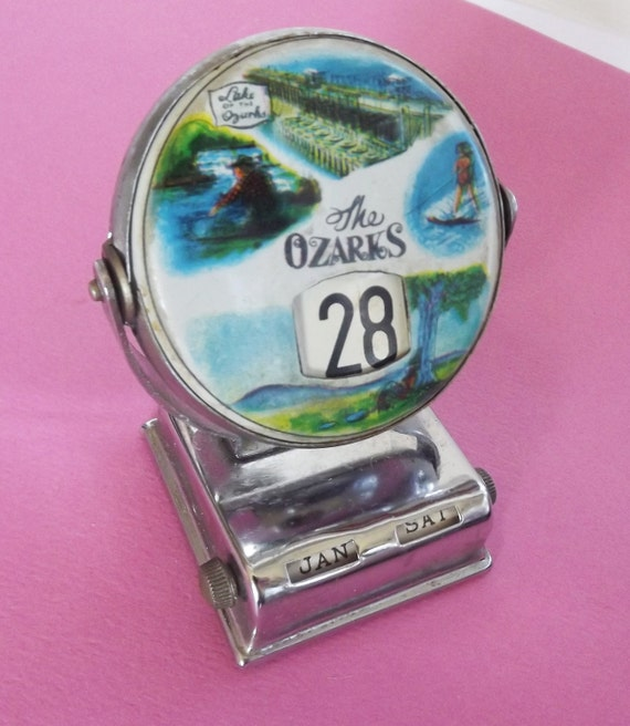 Vintage Calendar Perpetual Ozarks Collectible Date Month Day Perpetual Calendar Made in Japan Retro 1950