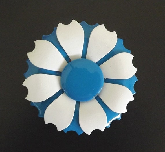Vintage Brooch Enamel Flower Blue and White Costume Jewelry Bridal Bouquet Wedding