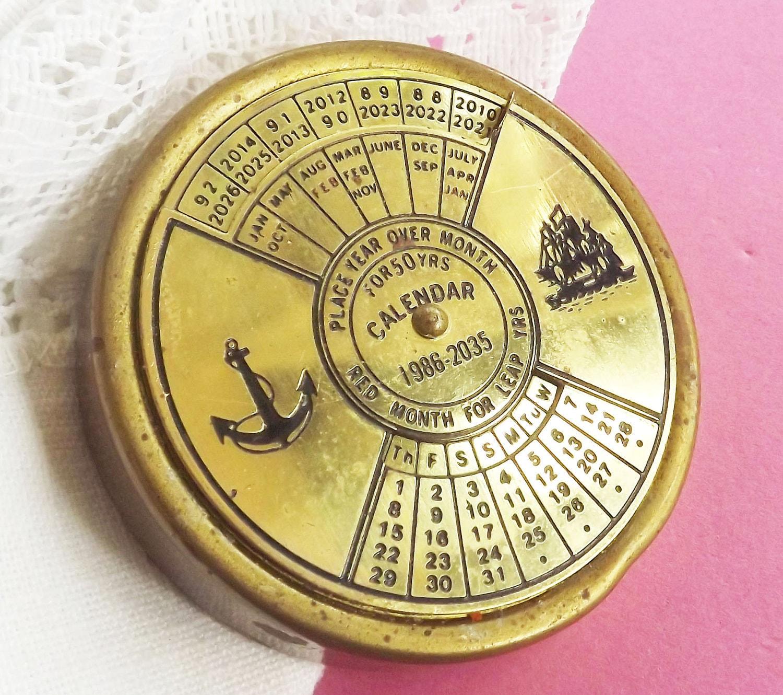 Perpetual Calendar Vintage : Vintage perpetual calendar brass to naval maritime