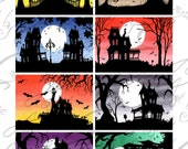 """SET 4 Fine Art ACEO ATC digital download printable collage sheet """"Haunted Houses"""""""