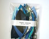 CLOSING SALE Paper Leaves for your wall, in dark blue