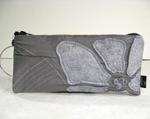 Eco Friendly Wristlet in Grey Cotton with Embroidered Surface Detail and Grey Felt Flower Applique