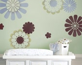 Stencils Daisy Crazy  9 pc - Easy Nursery Decor with Stencils Better than Wall Decals