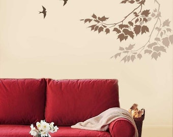Wall Stencil Sycamore Reaching Branch - Stencils for easy fast wall decor