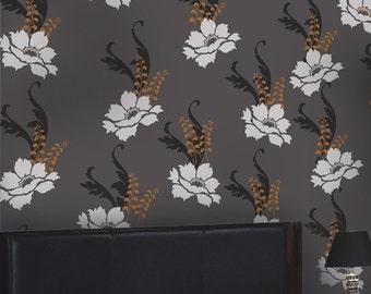 Wall Pattern Stencil Kit Peony Dream - Reusable stencils better than Wallpaper