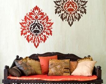Damask Stencil Nadya LG scale - stencils instead of wallpaper - DIY wall decor