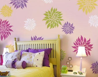 Flower Stencil Dahlia Grande MED -Reusable wall stencils Better than wall decals