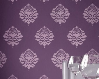 Damask Stencil Katie's Brocade SM - reusable stencils for walls, crafts and furniture