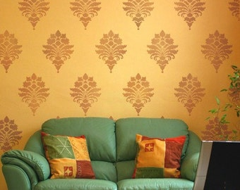 Damask Stencil Tali's Brocade SM - Reusable stencils for walls, fabric and furniture