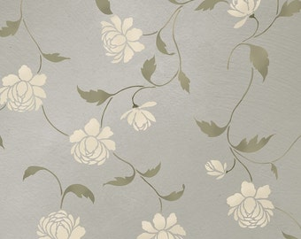 Stencil Peony Allover Floral Pattern - Wall decor stenciling - DIY