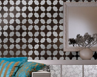 Wall Stencil Bazaar, reusable stencils for walls instead of wallpaper, great for DIY decor, Free Top and Single stencil included