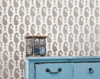 Wall Stencil Ikat Aynur - reusable stencils for walls instead of wallpaper -DIY decor