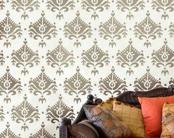 Wall Stencil Ikat Saida - Reusable stencils for walls instead of wallpaper -diy decor