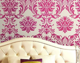 Damask Stencil Gabrielle - Reusable stencils for walls and fabrics - DIY wall decor