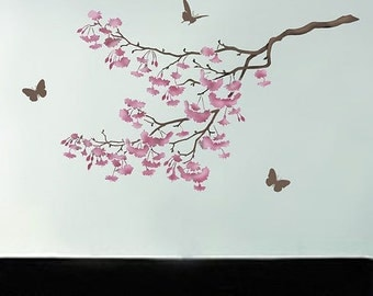 Stencil Cherry Blossoms - Reusable stencils for walls and crafts