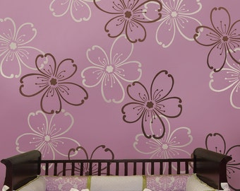 Stencils Flower Power 2 pc LG - Reusable stencils better than wallpaper - DIY decor