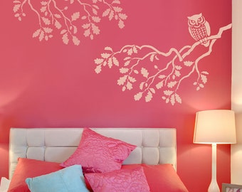 STENCIL Wise Owl MED - Reusable wall stencils better than decals -DIY decor