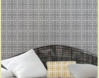 Geometric Stencil Fusion SM scale - Reusable stencils for accent walls and fabrics