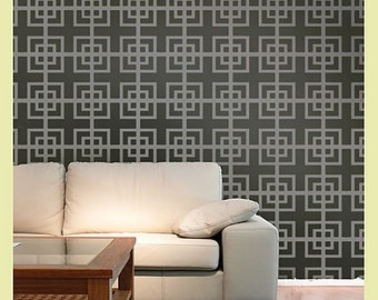 Geometric Stencil Fusion LG scale - Reusable stencils for accent walls and fabrics
