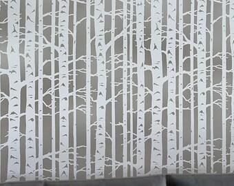 Birch Forest Allover Stencil - Reusable Stencils for Walls - Stencils for DIY Wall Décor - DIY Home Décor