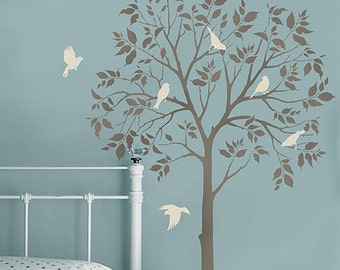 Large Tree and Birds Stencils - Reusable Stencils for DIY Decor - Better than Decals