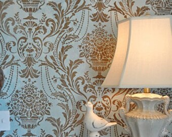 Anastasia Damask Stencil - Better Than Wallpaper! - DIY Home Décor - Easy DIY Wall Décor  - Stencils for DIY Wall Décor