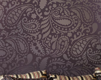 Paisley Allover Wall Stencil Pattern - Reusable wall stencils for DIY decor - Indian designs paisley stencil
