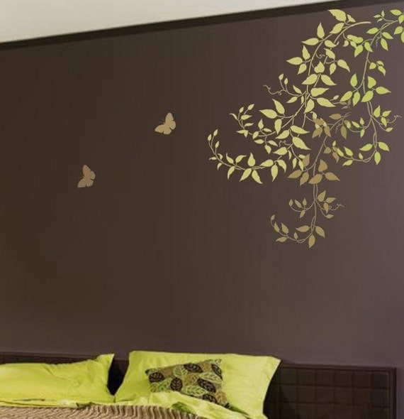Bedroom Wall Design Stencils : Wall stencil large clematis branch reusable for easy