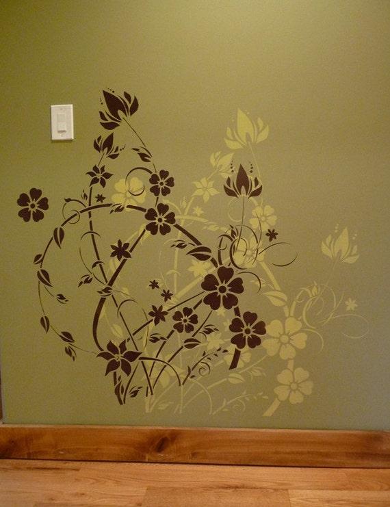 REUSABLE LARGE STENCIL Floral Filigree by CuttingEdgeStencils