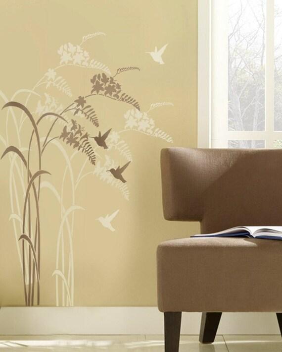Hummingbird Happy Hour Stencil - Reusable stencils for walls - Better than Decals!