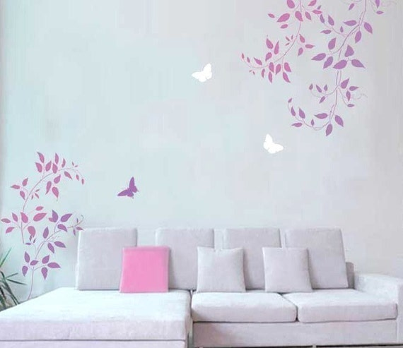 Wall Stencils Clematis Vine 3pc kit - Easy Wall decor with stencils - Better than decals