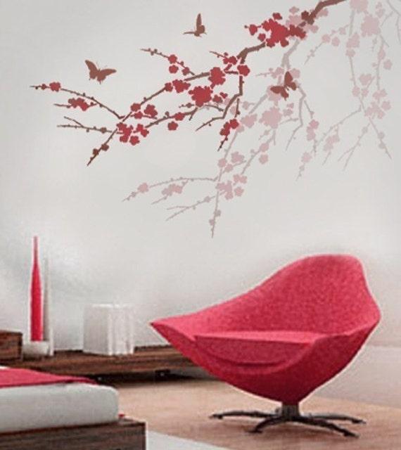 Stencil Sakura and Butterflies. Reusable stencils better than Wall Decals