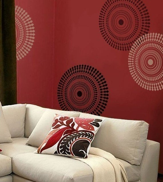 Wall Stencil Funky Wheel MED Reusable Stencils for DIY Decor