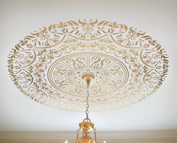 Decorative Stencil Georgian Ceiling Medallion - Wall and Ceiling stencils for DIY home decor - Classical designs