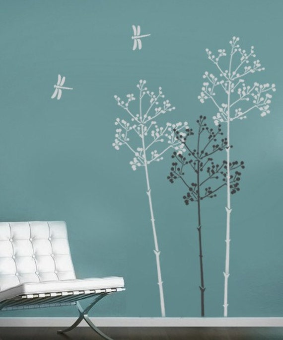 Large stencil going to seed easy reusable wall stencils - Wall stencils for painting ...
