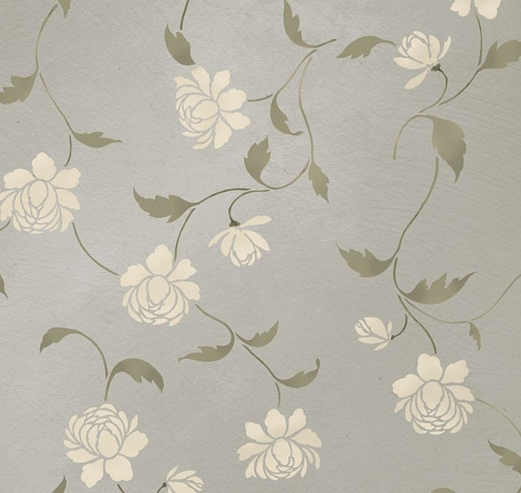 Items Similar To Stencil Peony Allover Floral Pattern