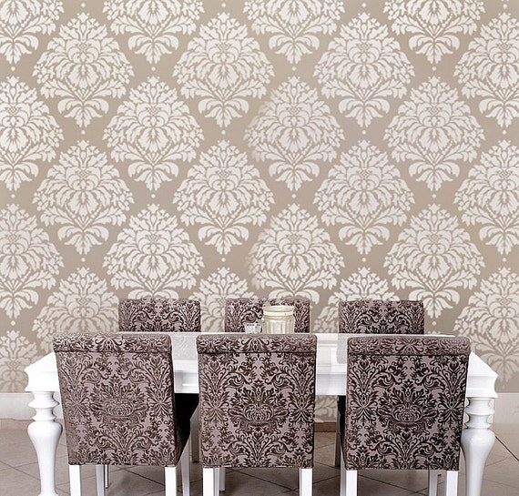 Wall Stencil Damask Kerry LG - Reusable stencils for DIY wall decor