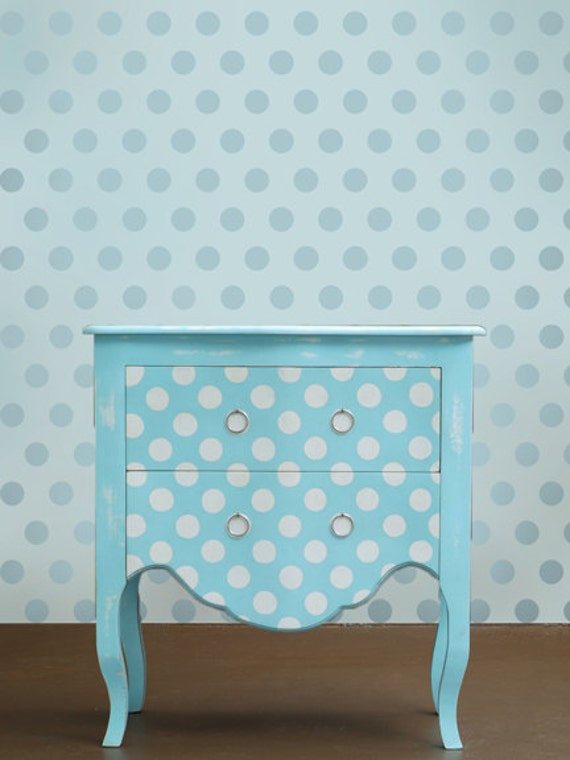 Wall stencil Polka Dot Allover SM - Easy wall decor for Nurseries, Kids Rooms