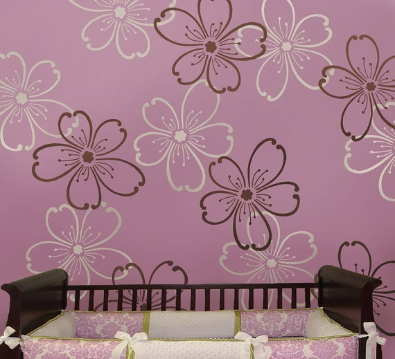 Stencils Flower Power 2 pc LG - Reusable stencils better than wallpaper - DIY decor