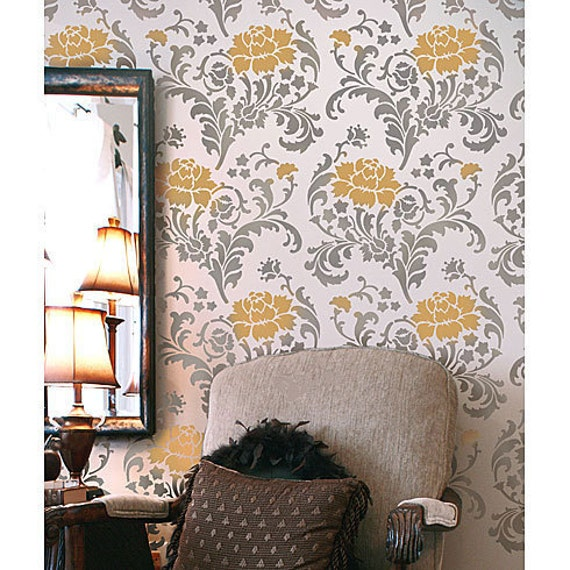 Julia Allover Stencil Pattern - Reusable stencils just like wallpaper