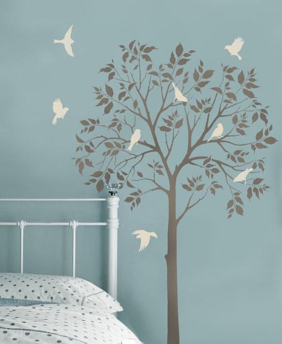 Oiseaux et des arbres grands pochoirs - pochoirs réutilisables pour décoration bricolage - mieux que les stickers
